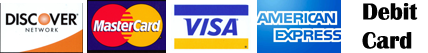 Visa, master card, discover, american express, debit